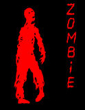 One-armed zombies silhouette in black and red colors. Vector illustration. Stock Photos