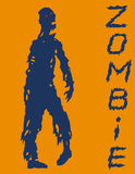 One-armed zombies silhouette in blue and orange colors. Vector illustration. Stock Images