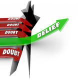 One Arrow of Belief Beats Doubt Confidence Vs Uncertainty. The word Belief on a green arrow jumping over a hole defeats red arrows marked Doubt as they fall into royalty free illustration