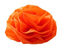 One artificial flower of Orange color from fabric. Image close up, isolated on white background. One artificial flower royalty free stock photography