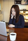One Asian woman thinking with smart phone Royalty Free Stock Photography
