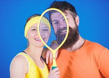 We are one. Athletic Success. Sport equipment. Happy woman and bearded man workout in gym. Strong body muscles. Sporty stock photo