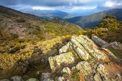 Beautiful rocks at the Catalan highlands. One of the attractions of the Catalan highlands are their spectacular rock formations covered with mosses and lichen royalty free stock images