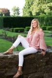 High School Senior Photo of Blonde Caucasian Girl Outdoors stock photos