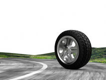 One automobile wheel on the road. . 3d render. Ing Royalty Free Stock Photography
