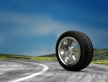 One automobile wheel on the road. 3d render. Ing Stock Image
