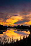 One Of Those Autumn Sunsets. Autumn nights provide quite spectacular sunsets in the Northern Finland stock photo