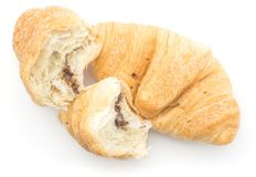 Baked croissant isolated on white royalty free stock image