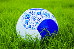 One ball. Rest on the green grass Royalty Free Stock Photography