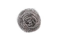 One ball of scourer. One ball of stainless scourer isolated Stock Photography