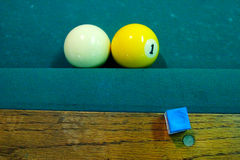 One ball touching cue ball on pool table Royalty Free Stock Photos