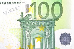 One banknote 100 euro. Detail of one banknote 100 euro Royalty Free Stock Photo