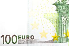 One banknote 100 euro. Detail of one banknote 100 euro Royalty Free Stock Images