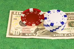 One banknotes and casino chips corresponding to the nominal valu Stock Image