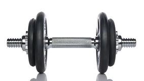 One barbell on white background royalty free stock image