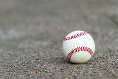 One baseball on infield of sport field royalty free stock images