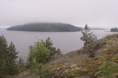 One of the bays of Lake Ladoga, landscape. Karelia. Russia. Color film, scan Royalty Free Stock Photos