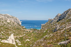 One of the bays near Marseille in France. View of the bay Calanque Sormiou near Marseille in South France Royalty Free Stock Images