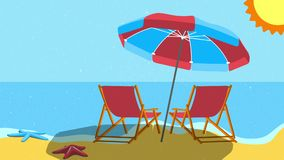 Beach umbrella and beach benches