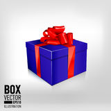 One beautiful blue gift box with red bow Stock Photo