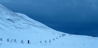 Old mine valley of Longyearbyen stock images