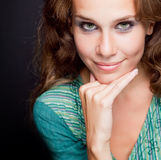 One beautiful elegant stylish young woman Stock Images