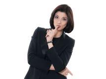 Beautiful hushing  caucasian woman portrait Stock Photos
