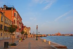 One of the beautiful islands in Venice, believed to be Giudecca, in late evening near sunset. stock photography