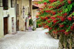 One of the beautiful narrow streets in Santillana del Mar, Cantabria, Spain. There is an old saying that Santillana del Mar is The Town of Three Lies, since it royalty free stock photos