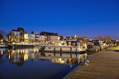 One of the beautiful pleasure harbours in Ghent Stock Image