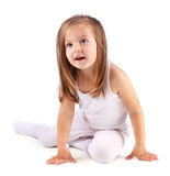 One beautiful small girl sits on white background. One small girl sits on white background stock photography