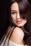 One Beautiful Woman With Sensual Hairstyle Stock Photo