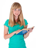 One beautiful young white lady with a book Royalty Free Stock Photos
