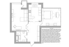 One-bedroom διαμέρισμα σχεδίων Στοκ φωτογραφία με δικαίωμα ελεύθερης χρήσης