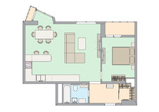 One-bedroom διαμέρισμα σχεδίων Στοκ εικόνα με δικαίωμα ελεύθερης χρήσης