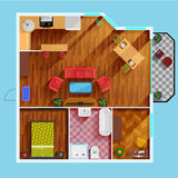 One Bedroom Apartment Floor Plan Royalty Free Stock Photography