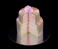 One beige cake with a pink rose Royalty Free Stock Photo
