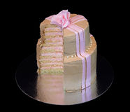 One beige cake with a pink rose Stock Photos
