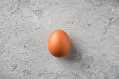 One beige egg on gray stone background Concept Food is loneliness, comparison is fragile and durable. One beige egg on gray stone background Concept Food is royalty free stock image