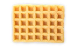 One Belgian waffle. Isolated on white. Top view Stock Photo