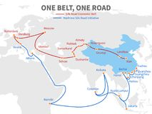 One belt - one road chinese modern silk road. Economic transport way on world map vector illustration. Transit roadmap, shipping european and eurasia distant royalty free illustration