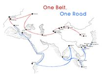 Free One Belt One Road New Silk Road Concept. 21st-century Connectivity And Cooperation Between Eurasian Countries. Vector Illustration Stock Image - 118448191