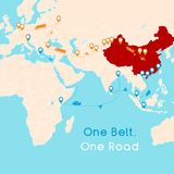 One Belt One Road new Silk Road concept. 21st-century connectivity and cooperation between Eurasian countries. Vector illustratio. N stock illustration