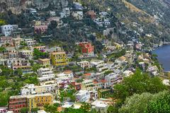 One of the best resorts of Italy with old colorful villas on the steep slope, nice beach, numerous yachts and boats in. Harbor and medieval towers along the stock images