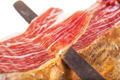 Slicing Spanish jamon iberico Royalty Free Stock Image