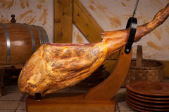 Leg of Spanish jamon iberico Royalty Free Stock Images