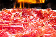 Plate of Spanish jamon iberico Stock Image