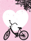 One bicycle parking under blooming flower tree, white heart on pink background royalty free illustration