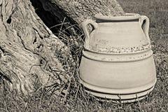 One big ancient ceramic pot closeup Stock Images