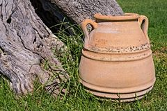 One big ancient ceramic pot closeup Royalty Free Stock Image